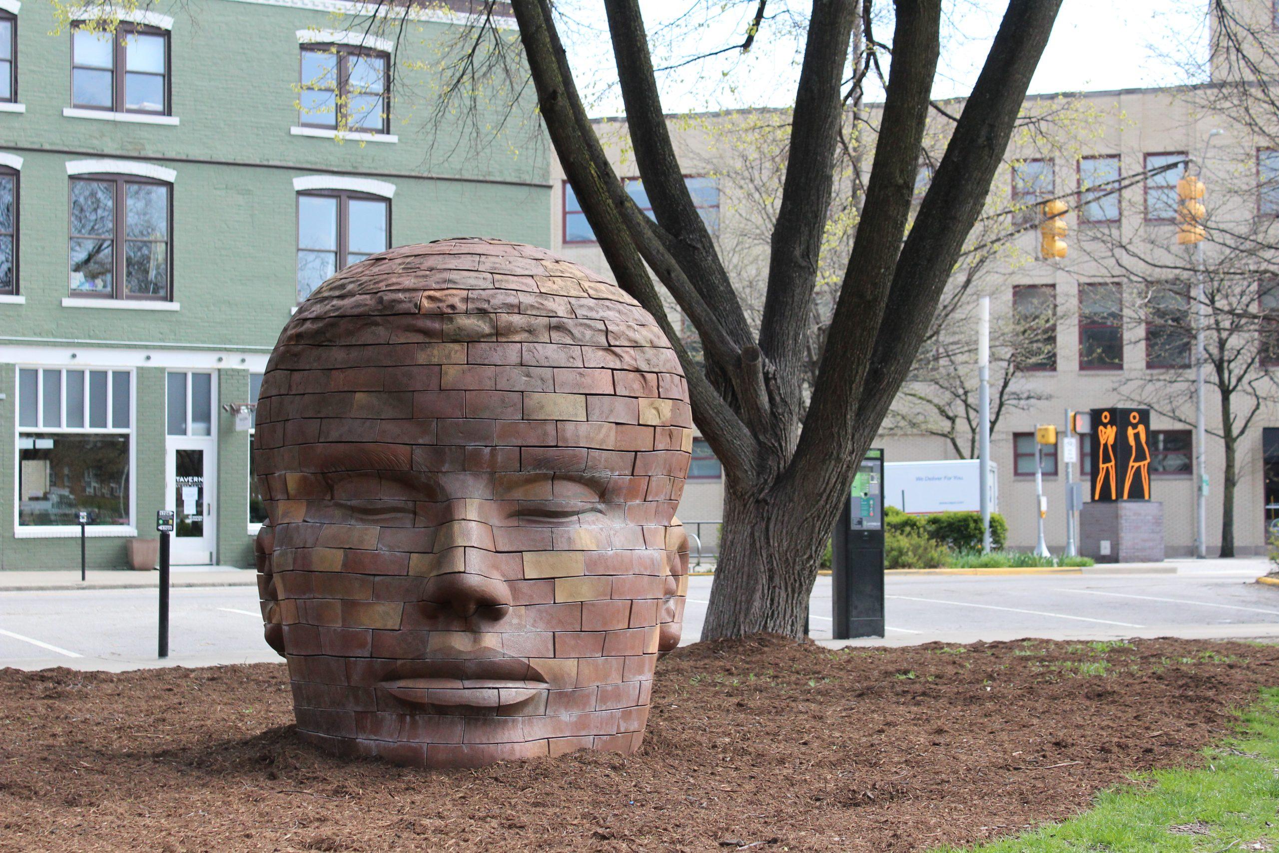 Mass Ave Art - Brick Head Sculpture